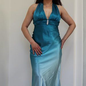 Cache Blue to Aqua Gradient, Backless Gown, Size 6